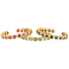 Bezel Set Gemstone Earring Cuffs, Gold, Ben Dannie