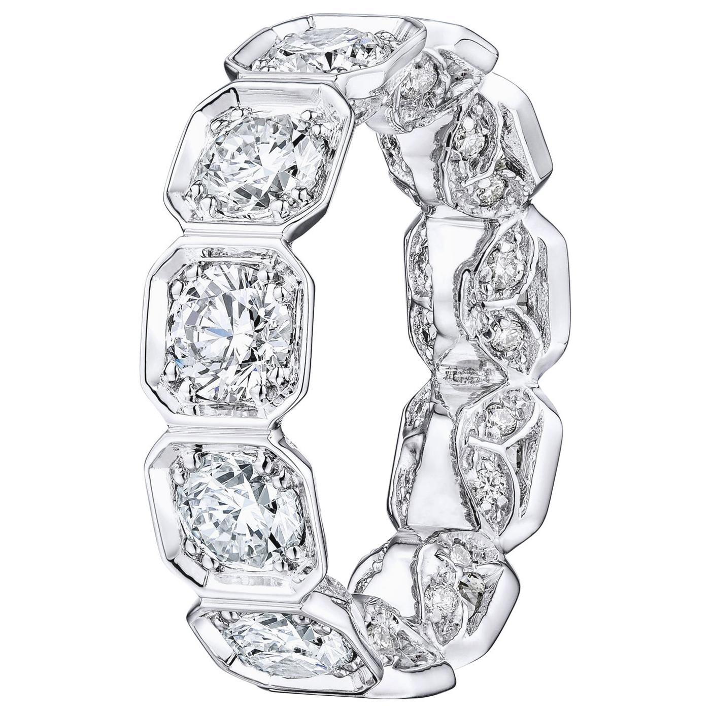 Bezel Set Octagonal Diamond Eternity Wedding Band 4.90 Carat