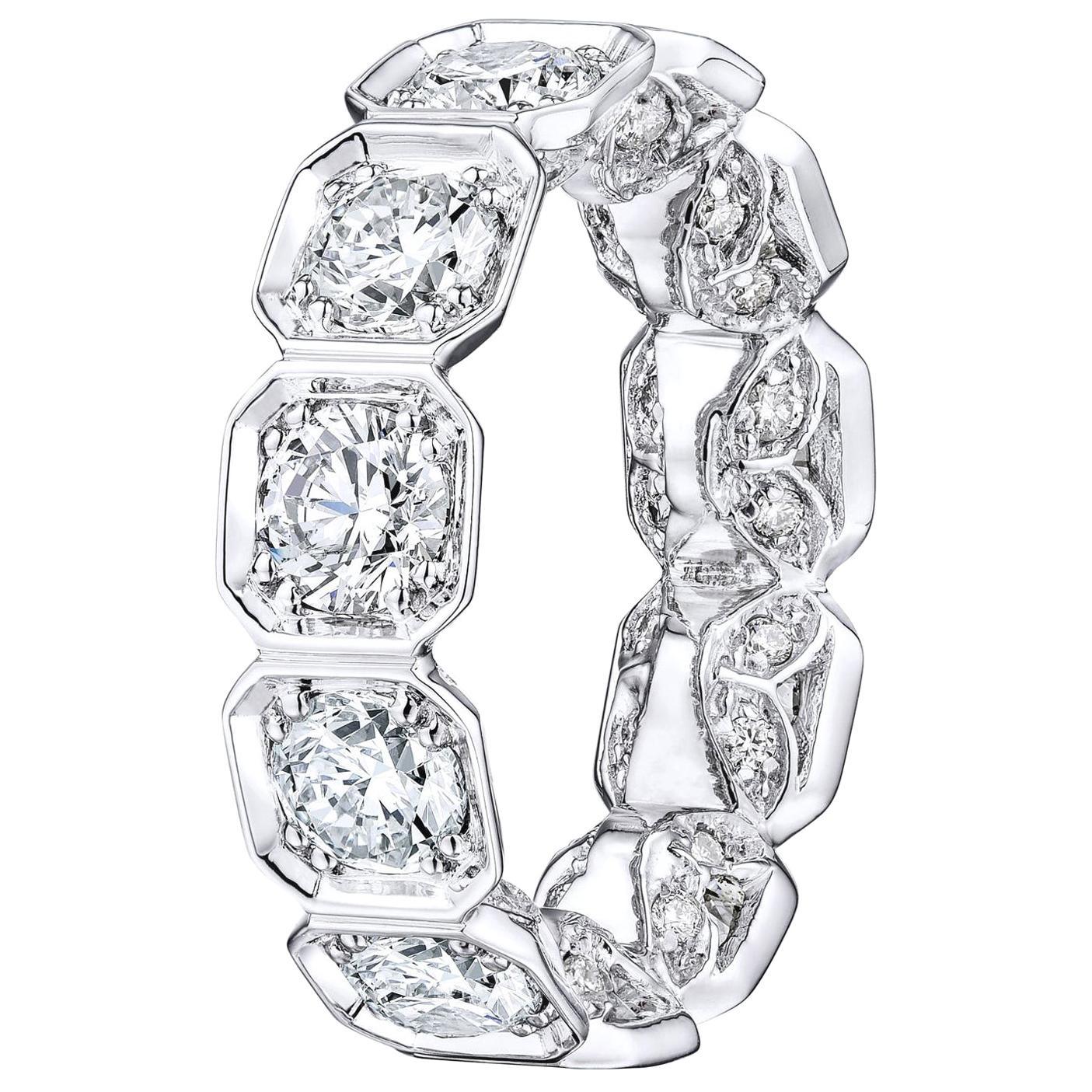 5.00 Carat Platinum Bezel Set Octagonal Diamond Eternity Wedding Band