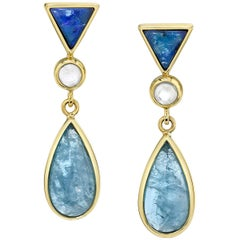 Bezel Set Opal, Moonstone and Aquamarine 18 Karat Yellow Gold Earrings