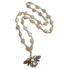 Bezel Set Opal Slices Necklace with Diamond/Opal/Ruby Bee Pedant, Devora Neckla