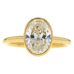Bezel Set Oval Diamond Engagement Ring