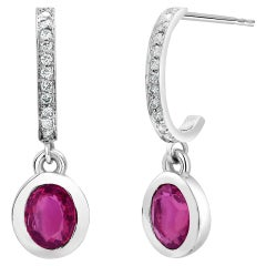 Bezel Set Oval Ruby and Diamond Gold Drop Hoop Earrings