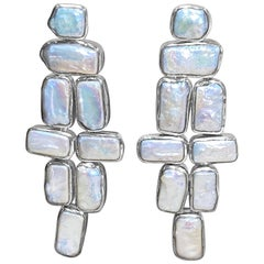 Stephen Dweck Bezel Set Pearl Flexible Earrings