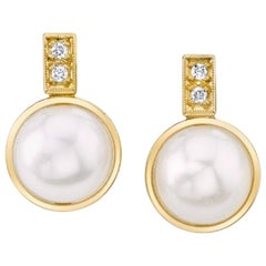 Bezel Set Pearls and Diamond 18 Karat Yellow Gold Post Earrings