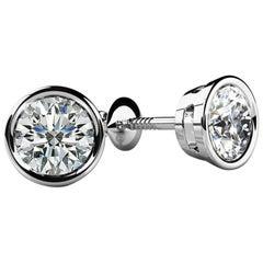 Bezel-Set Round Diamond Stud Earrings '1.00 Carat Very Good, VS2-SI1' Screw Back