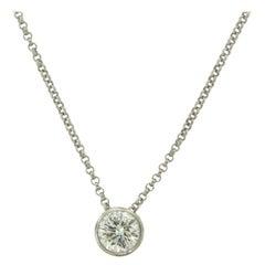 Bezel-Set Round Diamond White Gold Solitaire Pendant