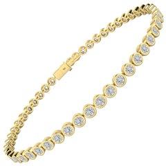 Bezel Set White Diamond Tennis Bracelet in 18 Karat Yellow Gold