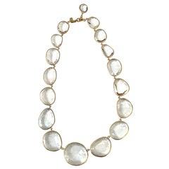 Bezel set White Topaz Link Necklace