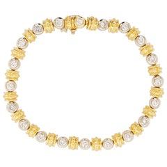 Bezel Tennis Bracelet in 14kt Two-Tone with 2.80 Carat of Diamonds Total Weight
