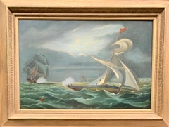 Antique English 19thC Victorian, Night time marine battle scene with sloop