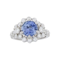 BGL Certified 2.47 Carat Round Sapphire & Diamond Cocktail Ring in 18k Gold