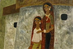 Modern Indian Master Mother and Daughter Painting