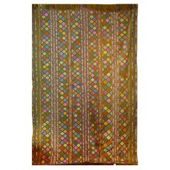 Bhutanese Silk Woven Kira Textile, Multi-Color on Brown