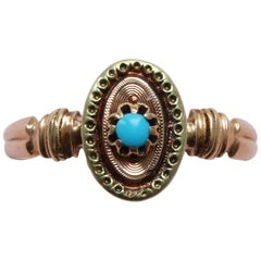 Bi-Color 18 Carat Gold Ring with Turquoise