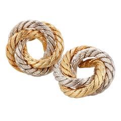 Bi-Color 18 Karat Gold Spiral Clip Earrings