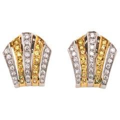 Bi-Color Diamond Fan Shape Clip and Post Gold Earrings Fine Estate Jewelry