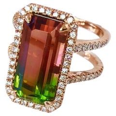 Bi-Color Tourmaline and Diamond 18 Karat Rose Gold Ring