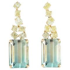 Bi-Color Tourmaline and Yellow Diamond, Gold Dangle Earrings