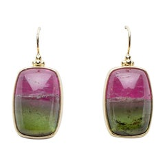 Bi-Color Tourmaline Earrings Set in 18 Karat Gold