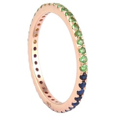 Bi Color Tsavorite Sapphire 14 Karat Gold Eternity Ring