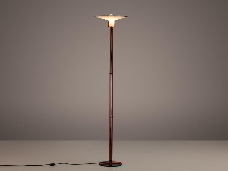 Late 20th Century Bi-Colored Pair of Italian Floor Lamps by VeArt in Black and Red Metal For Sale