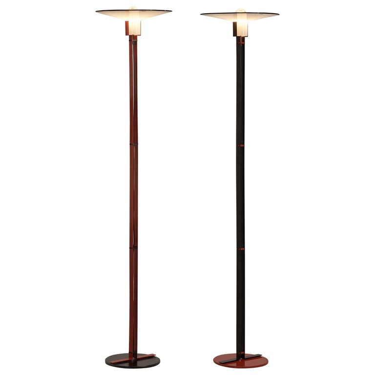 Bi-Colored Pair of Italian Floor Lamps by VeArt in Black and Red Metal For Sale