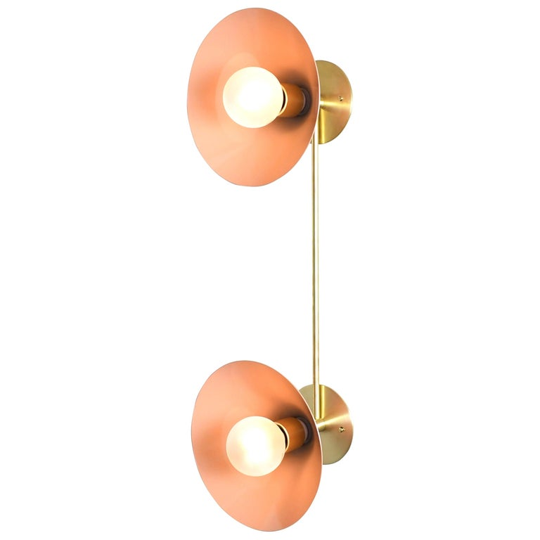Bi-Focal Wall Light in Brass and Blush Enamel by Blueprint Lighting, 2019 For Sale