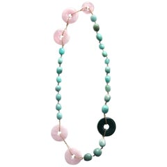 Bi Long Necklace Rose Quartz Amazonite