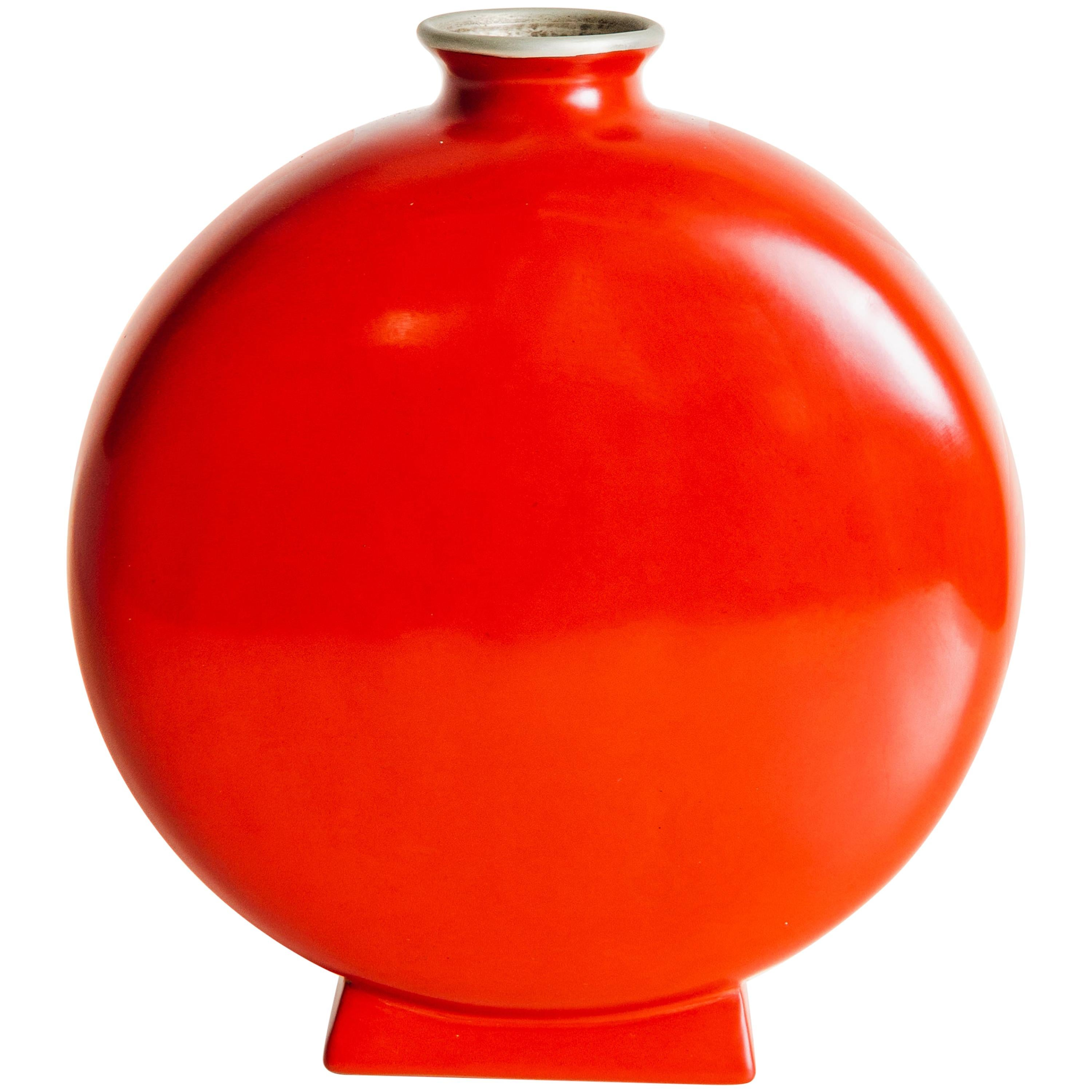 Bian Vase, Red Lacquer by Robert Kuo, Hand Repousse, Limited Edition