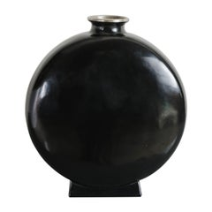 Bian Vase with White Bronze Rim in Black Lacquer by Robert Kuo, Limited Edition