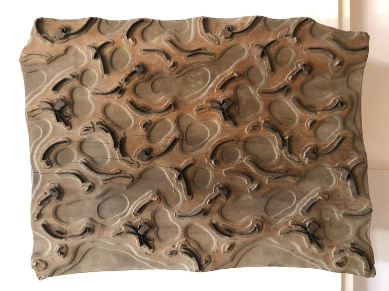 Bianchini-Ferier Circa 1880- 1900 textile design wood and metal fabric block, sold exclusively by lord and Taylor department store 1930's. Hand carved and created in Lyons France.