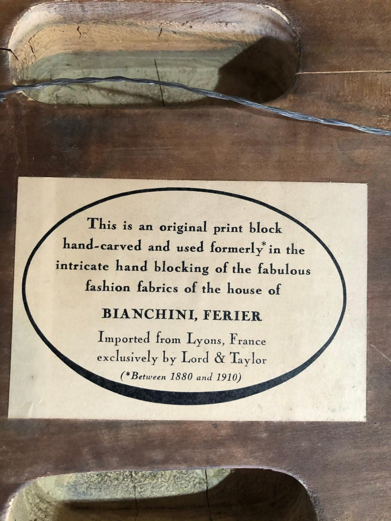 Bianchini Ferier French Fabric House Hand Carved Wood Block For Sale 1