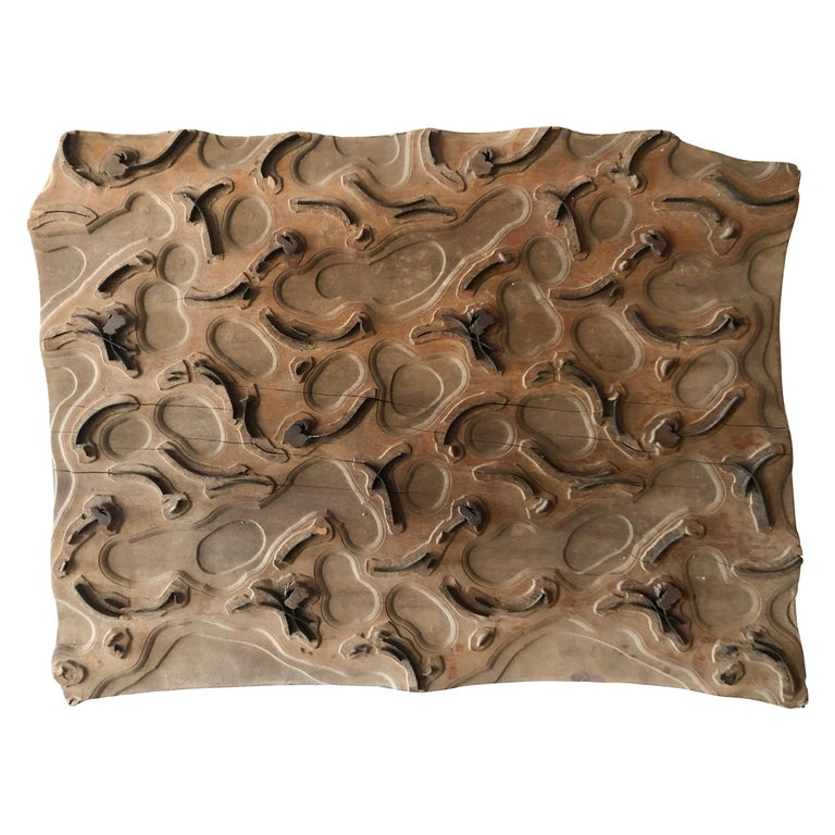 Bianchini Ferier French Fabric House Hand Carved Wood Block For Sale