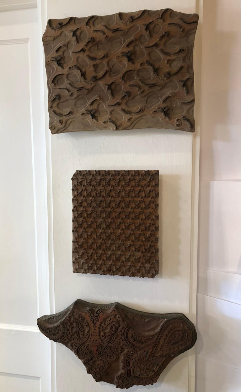 Bianchini Ferier French Hand Carved Fabric Wood Block Wall Art For Sale 3