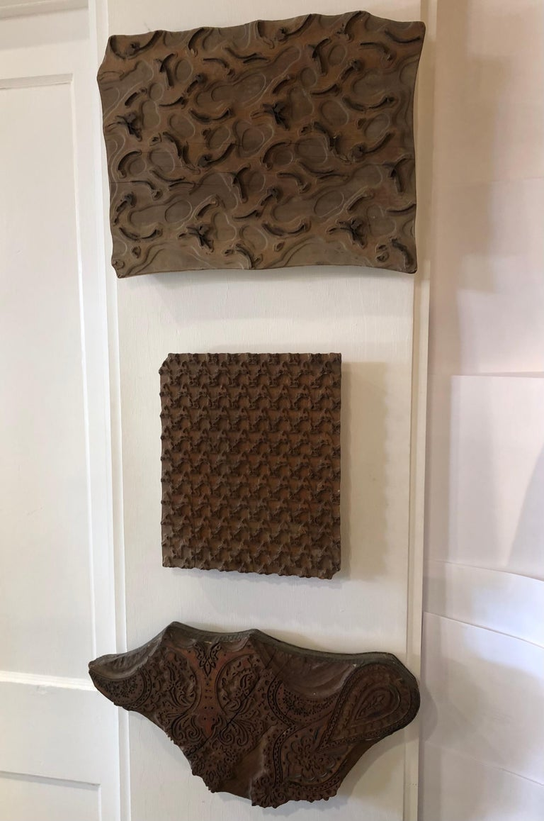 Bianchini Ferier French Hand Carved Fabric Wood Block Wall Art For Sale 4