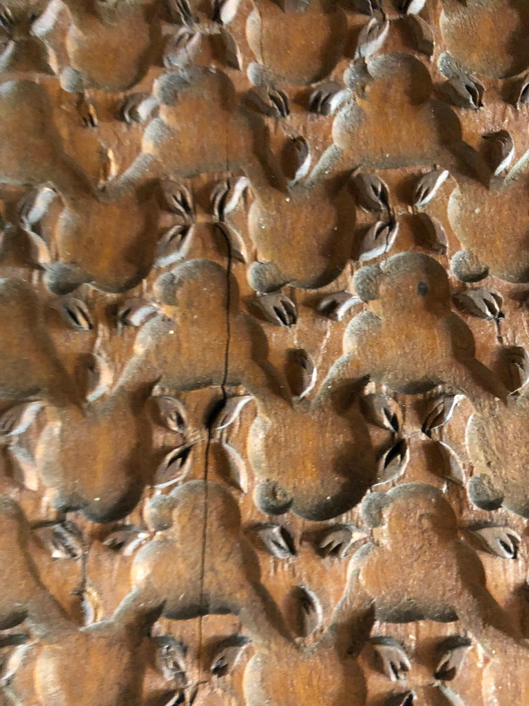 Bianchini Ferier French Hand Carved Fabric Wood Block Wall Art For Sale 2