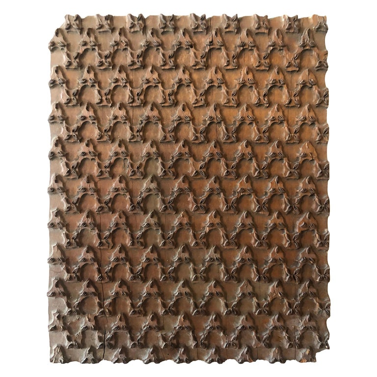 Bianchini Ferier French Hand Carved Fabric Wood Block Wall Art For Sale