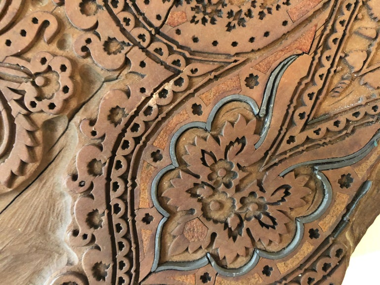 Hand-Carved Bianchini Frerier French Fabric House Hand Carved Wood Block For Sale