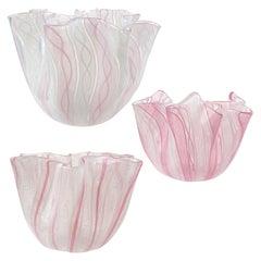 Venini Bianconi Murano Pink Italian Art Glass Fazzoletto Handkerchief Vases