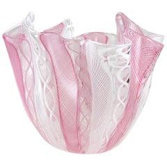 Bianconi Venini Murano Pink White Italian Art Glass Fazzoletto Handkerchief Vase