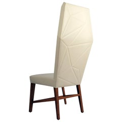 Bias Dining High Back Chair, Faceted Contemporary Design with Exposed Wood Frame