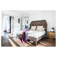 Bias Hooded KingBed Faceted Paneling, Limed Espresso Oak Holly Hunt Taupe Velvet