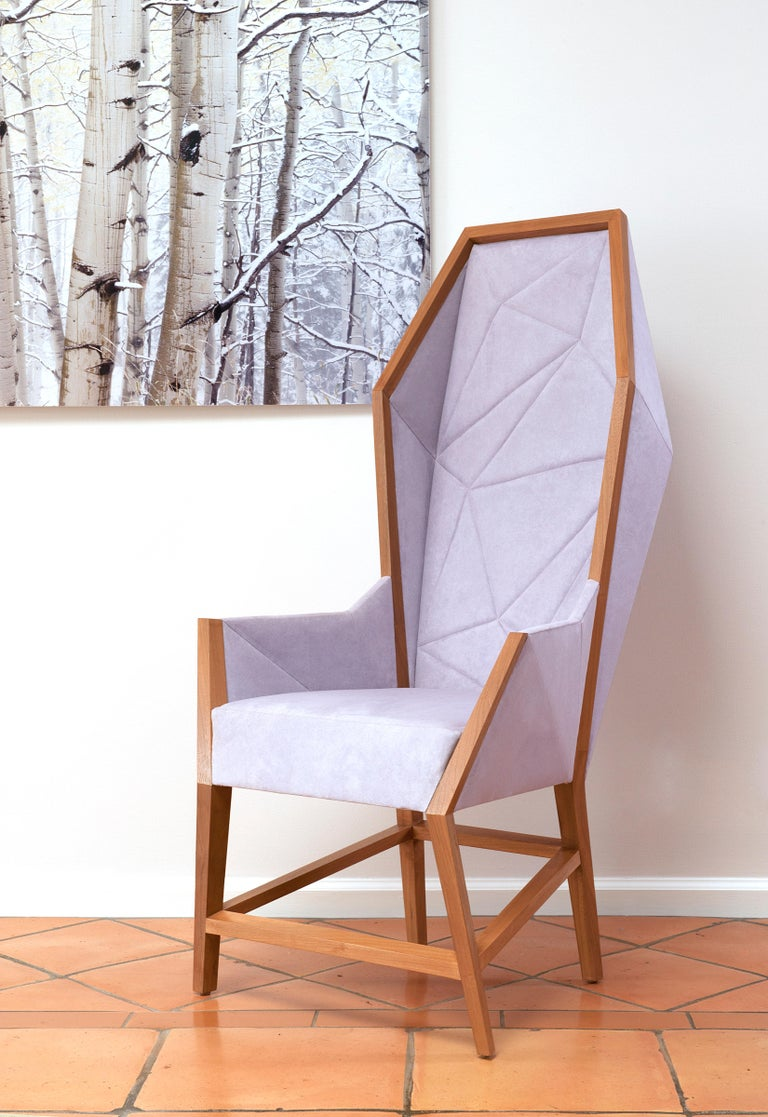 Modern bias hooded lounge chair faceted wingback inspired by louis xv sentry for sale