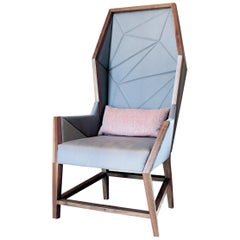 Bias Hooded Lounge Chair, Faceted Wingback Inspired by Louis XV Sentry