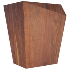 Bias Side Table, Faceted Walnut Drink Table, Contemporary Accent