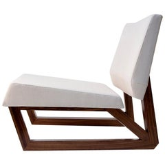 Bias Sled Slipper Chair, Contemporary Faceted Lounge Chair, Walnut, White Fabric