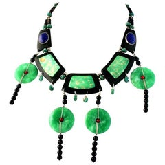 Exolette Bib Necklace with Green Jade Hardwood Onyx Lapis Silver and Red Coral
