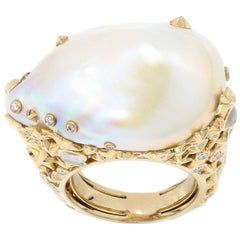 Bibi Van Der Velden 18kt Yellow Gold Moonstone Pearl Diamond Ring