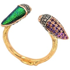 Bibi Van Der Velden Floaty Scarab Ring with Pink Sapphires and Diamonds